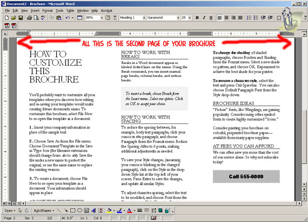 how to make a brochure on word